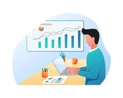 ilustração plana de um homem trabalhando em um laptop no negócio do projeto vetor