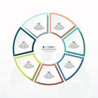 modelo de infográfico de círculo básico com 7 etapas vetor