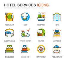 Conjunto simples de ícones de linha de serviço de Hotel para o site e aplicativos móveis vetor