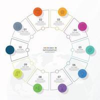 modelo de infográfico de círculo básico com 10 etapas vetor