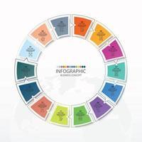 modelo de infográfico de círculo básico com 14 etapas vetor