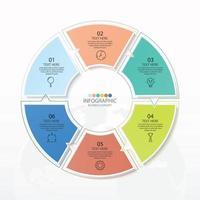 modelo de infográfico de círculo básico com 6 etapas vetor