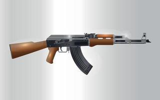 ilustração em vetor realista rifle automático russo ak 47