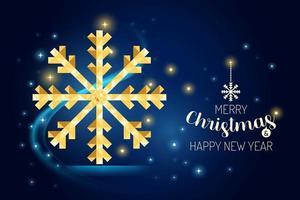 wireframe feliz Natal floco de neve luxo ouro geometria design. vetor