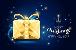 wireframe feliz natal presente caixa de luxo ouro geometria design. vetor