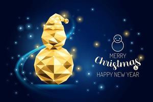 wireframe feliz natal boneco de neve luxo ouro geometria conceito design. vetor