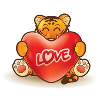 Tigre abraçando um coração vetor