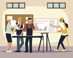 reunião da equipe de construtores e arquitetos com projeto no escritório vetor
