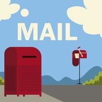 caixas de correio do serviço postal na rua cartoon vetor