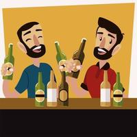 felizes amigos do sexo masculino bebendo cerveja e tilintando de copos vetor