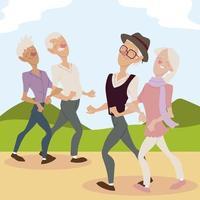 idosos ativos, casais idosos caminhando no parque vetor