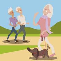 idosos ativos e felizes, mulher idosa com cachorro e casal de idosos passeando vetor
