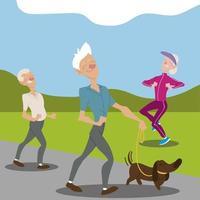 idosos ativos velhos passeando com cachorro vetor