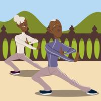 idosos ativos, idosos praticando personagem de ioga vetor