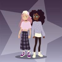 garotas lindas com roupas da moda, cultura jovem vetor