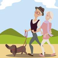 idosos ativos, idosos passeando com cachorro no parque vetor