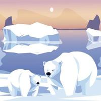 família de ursos polares na cena do pólo norte de iceberg de neve vetor
