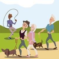 idosos ativos, idosos passeando com cachorros vetor