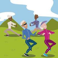idosos ativos, casais de idosos praticando ioga e caminhando vetor