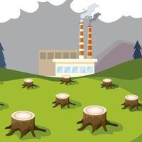 planta de fábrica torres de fumaça de cachimbo e árvores derrubando poluição vetor