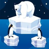 urso polar e pinguins iceberg paisagem noturna do pólo norte vetor