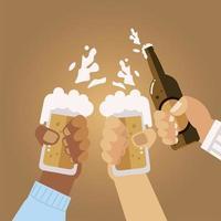mãos masculinas com canecas de cerveja e garrafa comemorando, brindes vetor