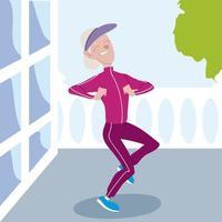 idosos ativos, mulher feliz praticando exercícios físicos em casa vetor