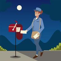 serviço postal, trabalhadora com envelope noite de trabalho vetor