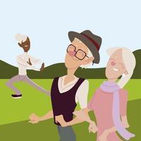 idosos ativos, idosa feliz praticando ioga e casal de idosos caminhando vetor