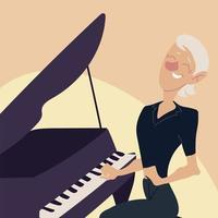 idosos ativos, velha tocando piano vetor