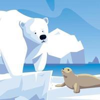 urso polar e animais-foca iceberg do pólo norte vetor