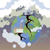 planeta terra doente pela poluição, fábricas poluentes vetor