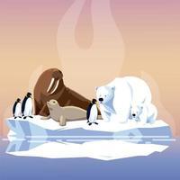 morsa, pinguins, foca e ursos polares no pólo norte do iceberg derretido vetor