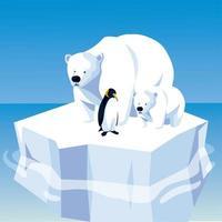 ursos polares e pinguins flutuando no pólo norte do iceberg vetor