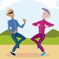 idosos ativos, engraçados casal praticando exercícios no parque vetor