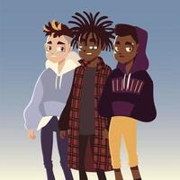 diversos meninos personagem cultura jovem roupas da moda vetor