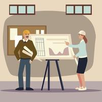 construtores e arquitetos, arquitetos mulheres e homens com plano de trabalho vetor