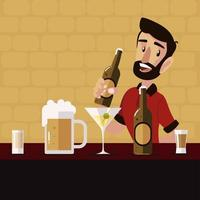 bartender de desenho animado segurando uma garrafa de cerveja e bebidas vetor