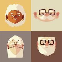 idosos, rostos fofos personagens velhos, homens e mulheres com óculos vetor