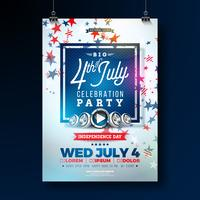 Ilustração de panfleto de festa do dia da independência dos EUA