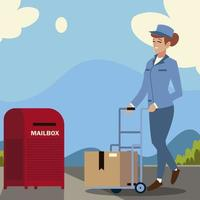 funcionário do serviço postal com caixa de carrinho e caixa de correio vetor
