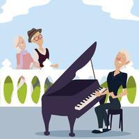 idosos ativos, um casal de idosos caminhando e uma idosa tocando piano vetor