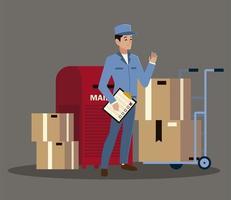 funcionário dos correios do sexo masculino com lista de verificação de caixa de correio e caixas vetor