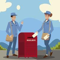 carteiro do serviço postal e caixa postal feminina envelopes rua da cidade vetor