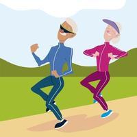 idosos ativos, homens e mulheres fazendo jogging personagens vetor