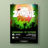 Ilustração de flyer Halloween Zombie Party