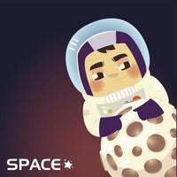 astronauta do espaço em um capacete com desenho de planeta vetor