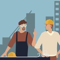 construtores e arquitetos, trabalhadores da construção civil pessoas trabalho em equipe vetor