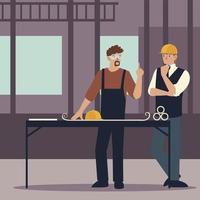 construtores e arquitetos com planta na mesa no local de trabalho vetor