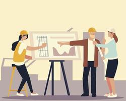 construtores e arquitetos, construtores e mulheres com projeto trabalhando vetor
